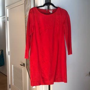 J. Crew M, Red Long sleeve dress